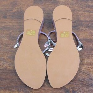 12a707d782264c Yellow Box Shoes - Yellow Box Wedge Flip Flops Metallic Purple Gems